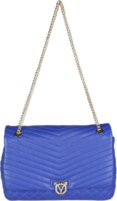MARIO VALENTINO Women Blue Genuine Leather Sling Bag at flipkart
