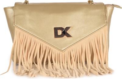 Diana Korr Women Gold PU Sling Bag at flipkart