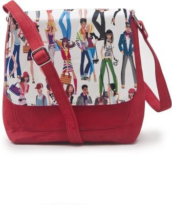 Falah Bag Works Women Casual Red PU Sling Bag