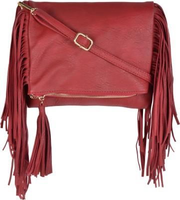 Kleio Women Maroon Leatherette Sling Bag at flipkart