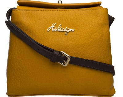 Hidesign Women Yellow, Brown Genuine Leather Sling Bag at flipkart