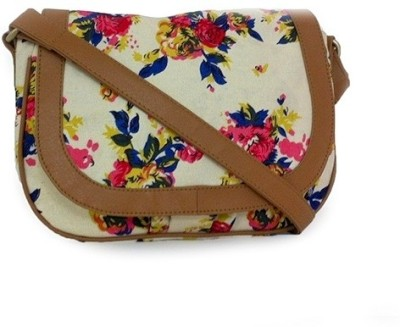 Carry on Bags Girls Casual Beige Canvas, PU Sling Bag