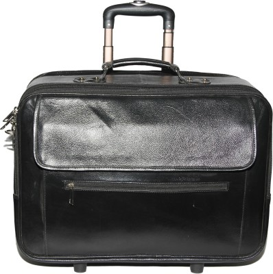 C Comfort Genuine Leather Expandable Small Travel Bag  - Medium(Black) at flipkart
