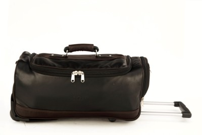 Mboss MBOSS Faux leather Strolley Roller Duffel Bag Small Travel Bag  - Medium(Black) at flipkart
