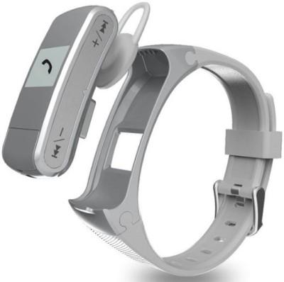 Technomart 2 in 1 Earphone Headset Hear Rate Monitor Smart Fitness Band(Silver Strap, Size : Regular) 1
