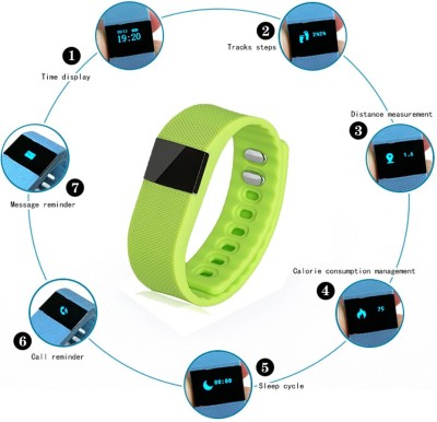 Callmate Wireless Activity Smart Bracelet(Green Strap, Size : Regular)