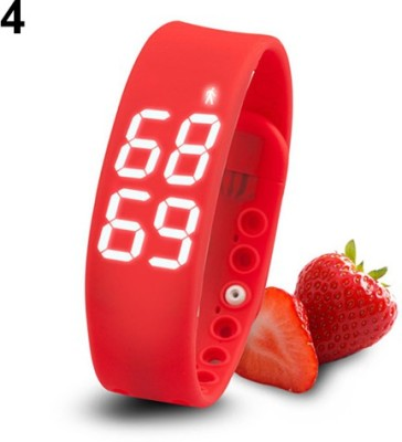 ZVR FLIPFIT Fitness BanD 3D PeDometer Sleep Temperature Calorie Monitor Time Display Silicon Without SpeeDometer Smartwatch(Red Strap Regular) 1