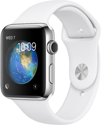 Apple Watch Series 2 - 42 mm Stainless Steel Case with White Sport Band(White Strap Medium) at flipkart