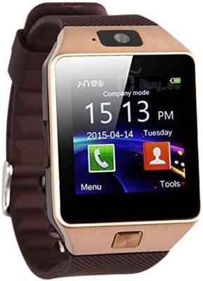 stk T30 Gold Bluetooth Notification Smartwatch (Brown Strap)