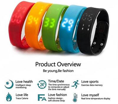 Bs Spy Fitness BanD 3D PeDometer Sleep Temperature Calorie Monitor Time Display Silicon Without SpeeDometer Red Smartwatch (Red Strap Free Size)