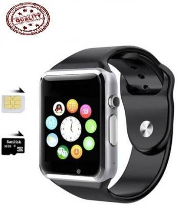 being trendy AP01 with SIM card slot, 32Gb Memory card slot and Fitness Tracker Stainless Steel Smartwatch (Black Strap)