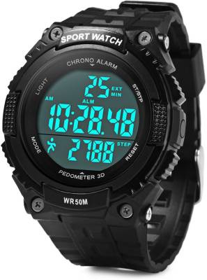Bs Spy PeDometer Waterproof Sports Multifunction LeD Digital 3D PeDometer MilitaryWith Alarm Without SpeeDometer Black Smartwatch (Black Strap Free Size)