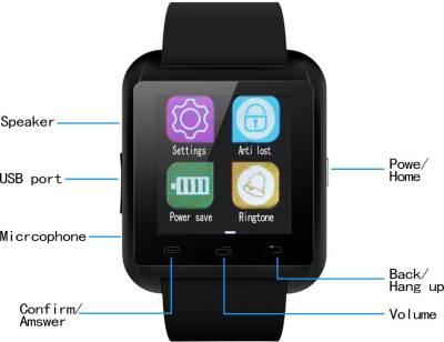 Bingo U8 Black Bluetooth Notification Watchphone Support Android and IOS Smartwatch