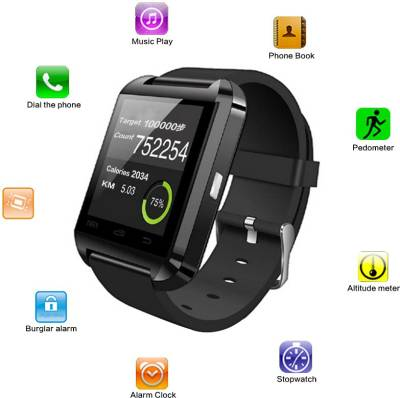 Bingo U8 Black Bluetooth Notification Watchphone Support Android and IOS Smartwatch