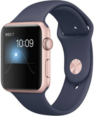 Apple Watch Series 2 - 42 mm Rose Gold Case with Midnight Blue Sports Band Midnight Blue Smartwatch