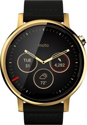 Motorola Moto 360 2nd Gen (46 mm) for Men Gold Black Leather Smartwatch