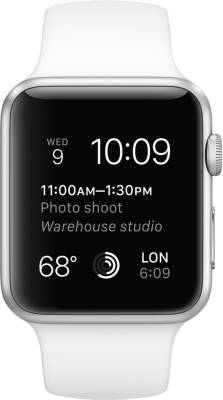 Apple Watch Sport Silver Aluminium case white sport Band 42mm Image