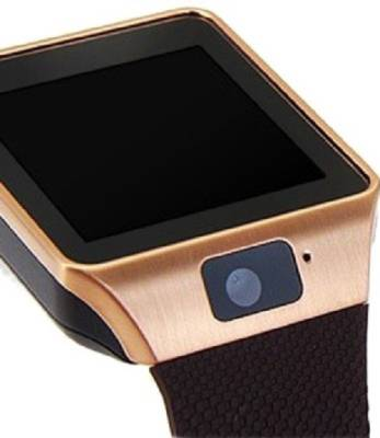 WDS with SIM card, 32GB memory card slot, Bluetooth and Fitness Tracker Smartwatch (Gold, Brown Strap)