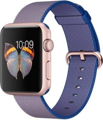 Apple Watch Sport 42mm Rose Gold Aluminum Case with Royal Blue Woven Nylon Rose Gold Smartwatch Upto Rs10,000 Off