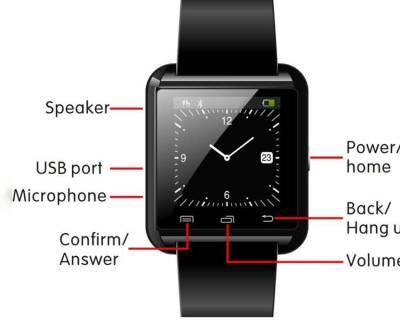 ROOQ U8 Smartwatch (Black Strap)