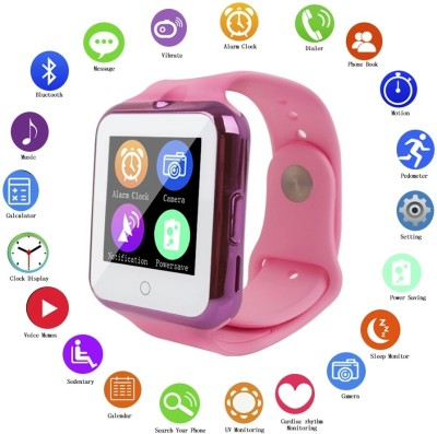 Flipfit Smart Watch with Anti-lost, Bluetooth Android & Ios Connectivity, with sim & memory card supported, also with camera features Pink Smartwatch(Pink Strap Large)