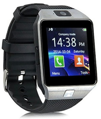 Wokit DZ09-61 Bluetooth with Built-in Sim card and memory card slot Compatible with All Android Mobiles Silver Smartwatch(Black Strap Regular) 1
