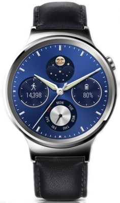 Huawei Stainless Steel with Black Leather Strap Smartwatch