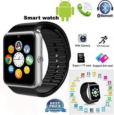 Outsmart with SIM card, 32GB memory card slot, Bluetooth and Fitness Tracker Smartwatch (Black Strap)