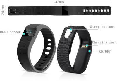 AJA Retail TW64 SmartBand Bracelet Pedometer SmartWatch For IOS Android Fitness Tracker Black Smartwatch (Black Strap Free Size)