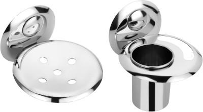 Osian 2 Pieces Bathroom Accessories 1 Soap Dish ,1 Tumbler Holder  Creta Series Silver