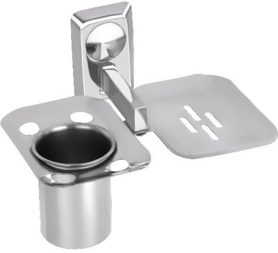 YORA Soap Dish With Tumbler Holder(silver)