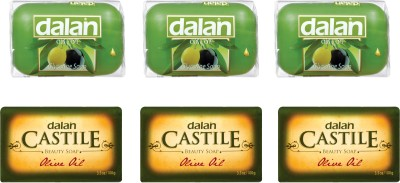 Dalan Combo of Pure Olive Oil Soap - Castile Beauty Soap (3 X 100 gms) and Glycerine Soap (3 X 100 gms) - Total 6 X 100 gms.(600 g, Pack of 6)