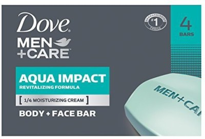 Dove Men+Care Aqua Impact Body and Face Bar 4 Count(40 g, Pack of 4)