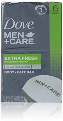 Dove Men+care Extra Fresh Body + Face Soap Bars 6 Count(540 g, Pack of 6)