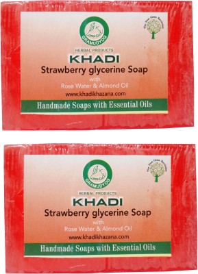 Khadi Herbal NaturalStrawberry Glycerine Soap With Rose Water & Almond Oil Pack Of 2(2 x 125 g)