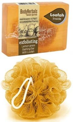 BodyHerbals Exfoliating Soap, Hand Made Lemongrass Bathing Bar with Natural Loofah(100 g) Flipkart