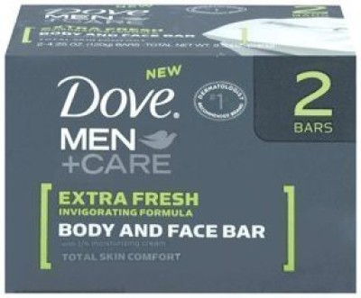 Dove men plus care extra fresh body and face bath bar(120 g, Pack of 2)