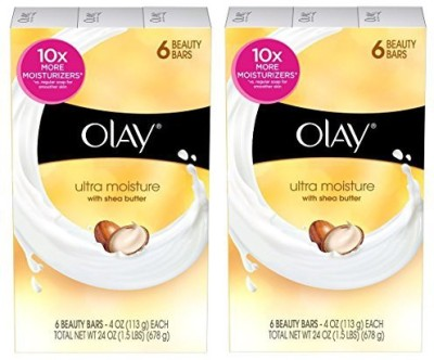 Olay Ultra Moisture with Shea Butter Beauty Bar Soap 6 Bars (Pack of 2) Total 12 Bars(678 g)