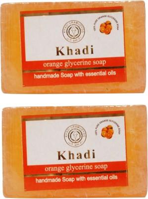 Khadi Orange Glycerine Soap, 125 GM (Pack of 2)