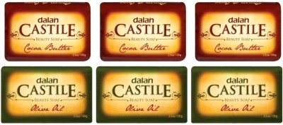 Dalan Castile beauty soap Olive Oil (Pack Of 3 X 100 Gms) & Cocoa Butter (Pack Of 3 X 100 Gms) - Total 6 pcs(600 g, Pack of 6)