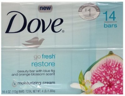 Dove Go Fresh Restore Beauty Bars with Blue Fig and Orange Blossom Scent - 14 Bars(1800 g, Pack of 14)