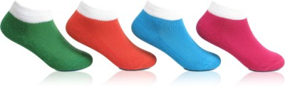 Bonjour Cushioned Girls Self Design Ankle Length Socks(Pack of 4)  available at flipkart for Rs.199