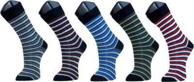 Marc Men's Striped Crew Length Socks(Pack of 5)