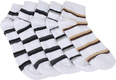 Mikado Simple Appeal Men's Striped Ankle Length Socks(Pack of 10)