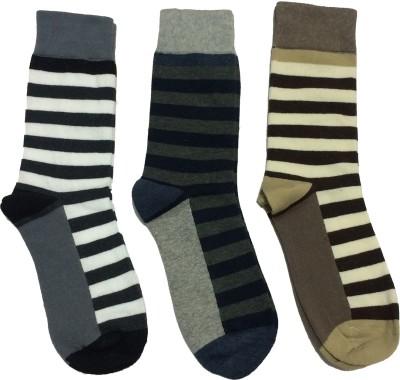 Graceway Men's Striped Crew Length Socks(Pack of 3)