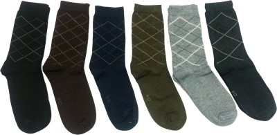 Graceway Men's Geometric Print Crew Length Socks(Pack of 6)