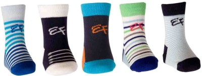 Ezzi Feet Baby Boys Self Design, Striped Crew Length Socks(Pack of 5)