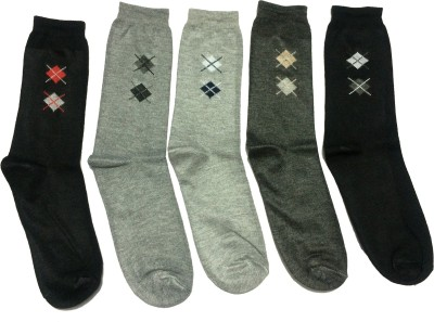 Graceway Men's Geometric Print Crew Length Socks(Pack of 5)