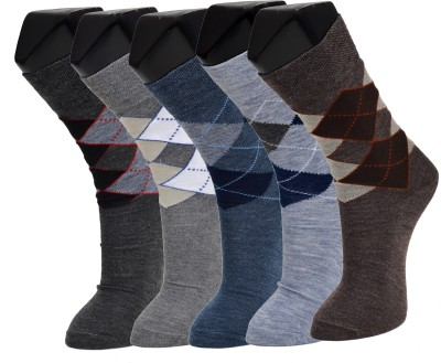 Welwear Men's Self Design Crew Length Socks(Pack of 5)