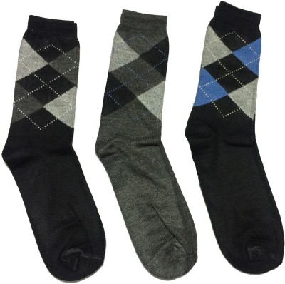 Graceway Men's Geometric Print Crew Length Socks(Pack of 3)